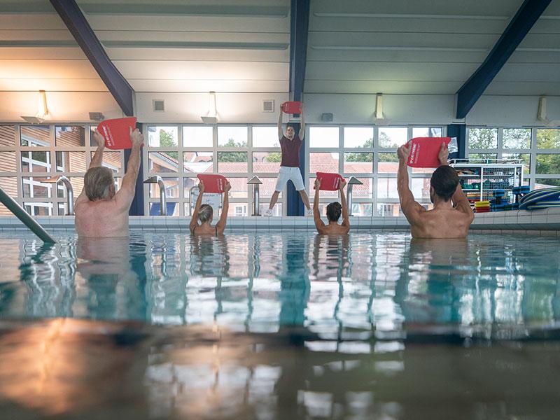 Aquatraining für eine Gruppe aus vier Leuten.